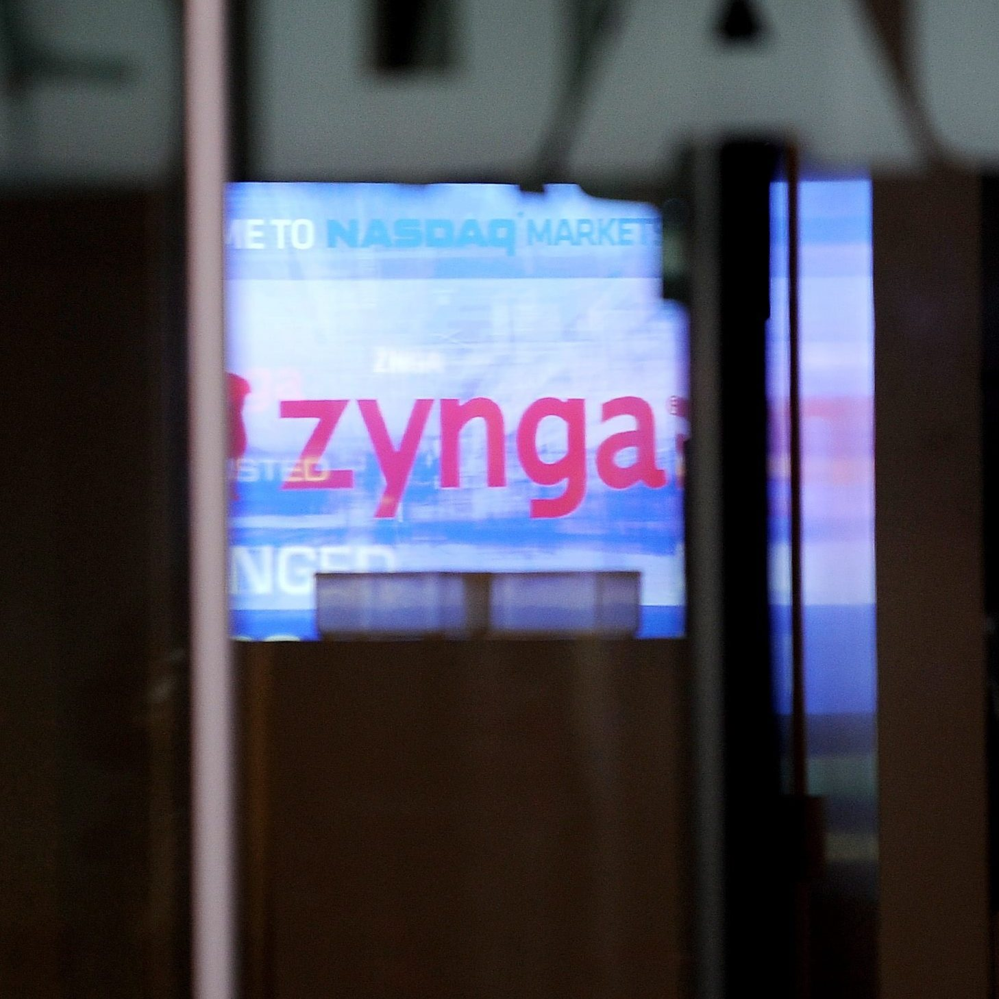 The display at the NASDAQ building promotes the IPO of online game developer Zynga.