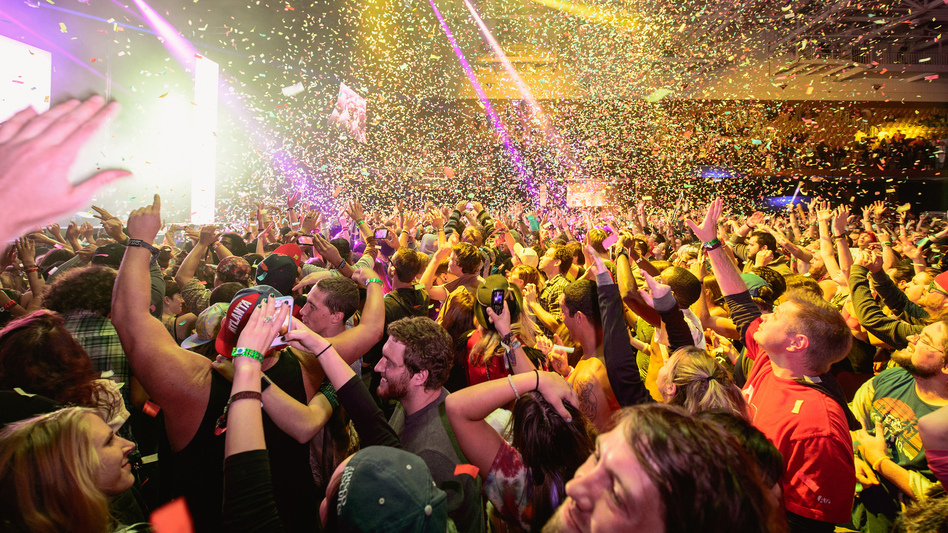 A crush of fans dance together at a Bassnectar performance, from the 2013 Mountain Oasis festival. (NPR Music)