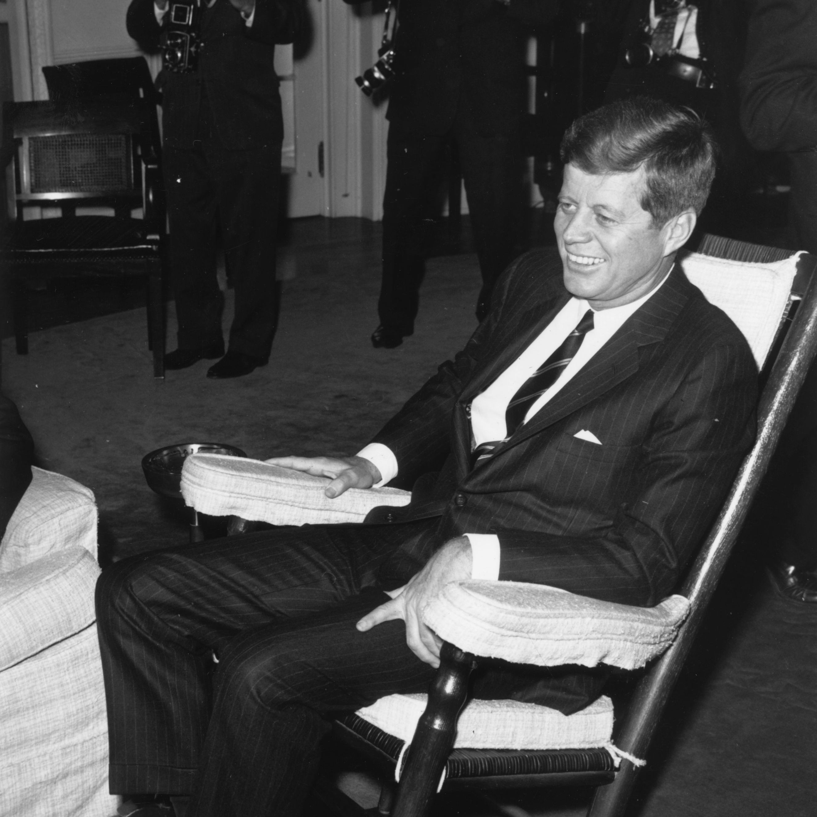 Kennedy in the White House in his favorite rocking chair, two days before he was assassinated in November 1963.