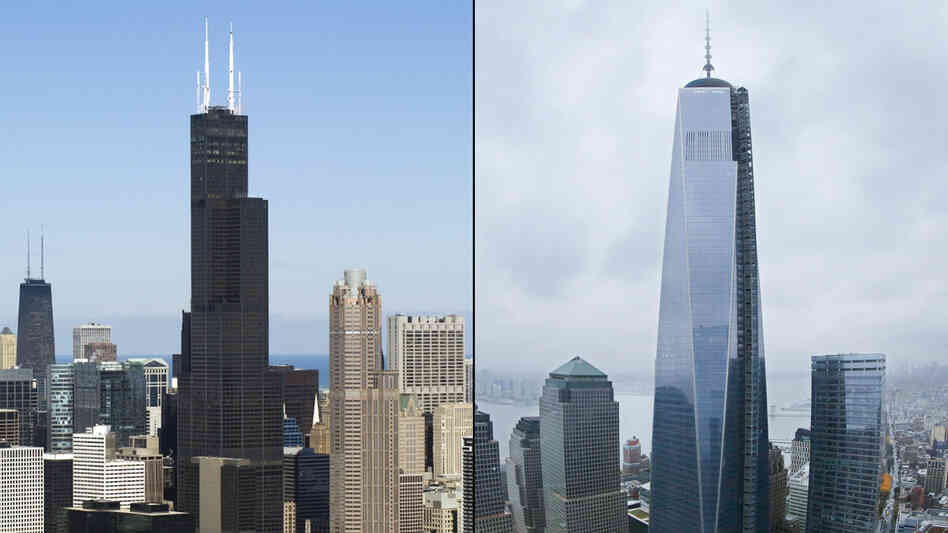 The Willis Tower (left) in Chicago, photographed on Feb. 15. One World Trade Center (right) in New York City, photographed on Thursday.