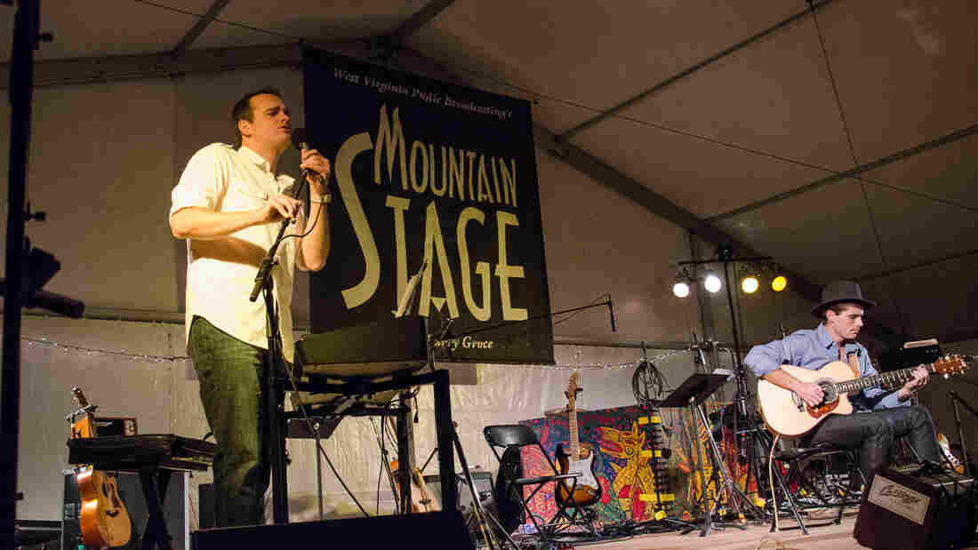 Andrew Walesch (left) performs live on Mountain Stage with guitarist Jonathan Brown.