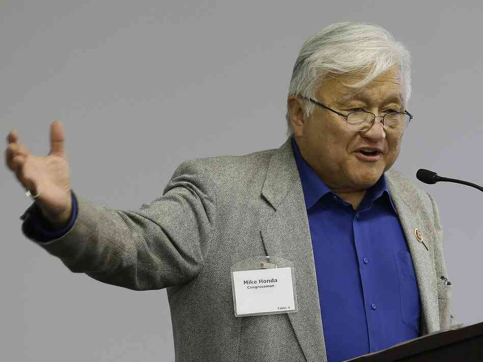 Rep. Mike Honda speaks during the Fremont Legislative Brunch at Tesla Motors in California in May.