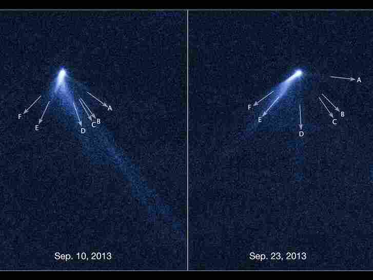 These NASA/ESA Hubble Space Telescope images reveal a never-before-seen set of six comet-like tails radiating from a body in the asteroid belt designated P/2013 P5.