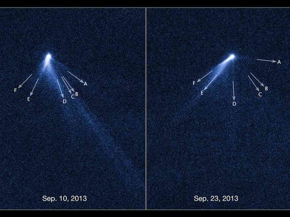 These NASA/ESA Hubble Space Telescope images reveal a never-before-seen set of six comet-like tails radiating from a body in the asteroid belt designated P/2013