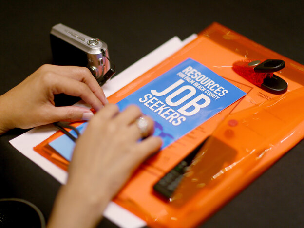 At a career fair in West Palm Beach, Fla., on Thursday, a job seeker collected information.