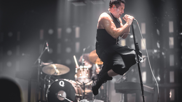Nine Inch Nails frontman Trent Reznor, performing live at the 2013 Mt. Oasis festival. (NPR Music)