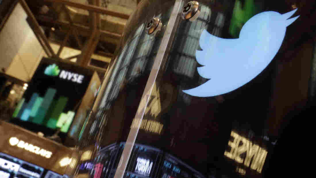 Will It Fly? The Twitter logo decorated a post on the floor of the New York Stock Exchange on Wednesday.