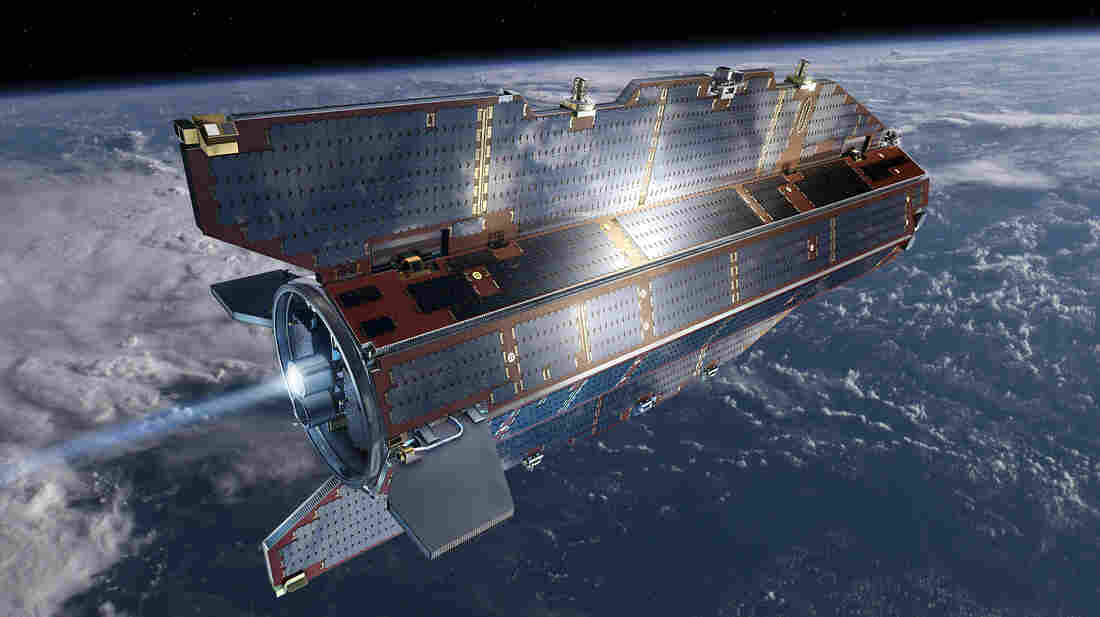 An artist's rendering of the European Space Agency's GOCE satellite, which is now out of fuel and expected to fall to Earth sometime Sunday or early Monday.