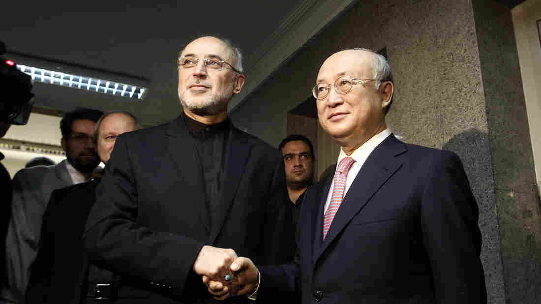 Ali Akbar Salehi, Iran's nuclear chief, shakes hands with Yukiya Amano, the head of the International Atomic Energy Agency, in Tehran, Iran, on Monday.