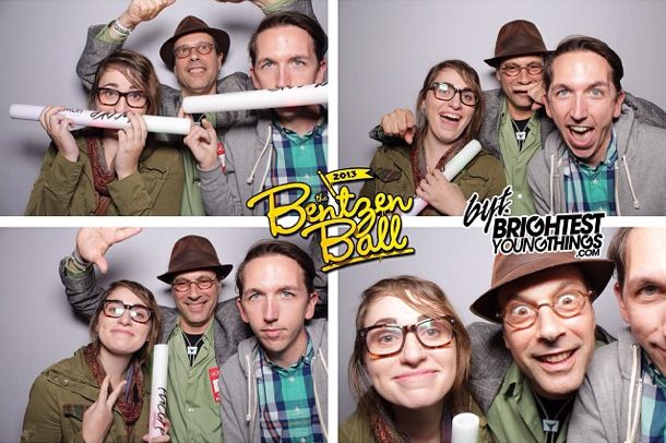 NPR Music Intern Alex Schelldorf (r) mugging with his supervisor, All Songs Considered Host Bob Boilen (center, with hat), at the 2013 Bentzen Ball, a comedy festival in Washington, D.C. (posted by @alexschelldorf)