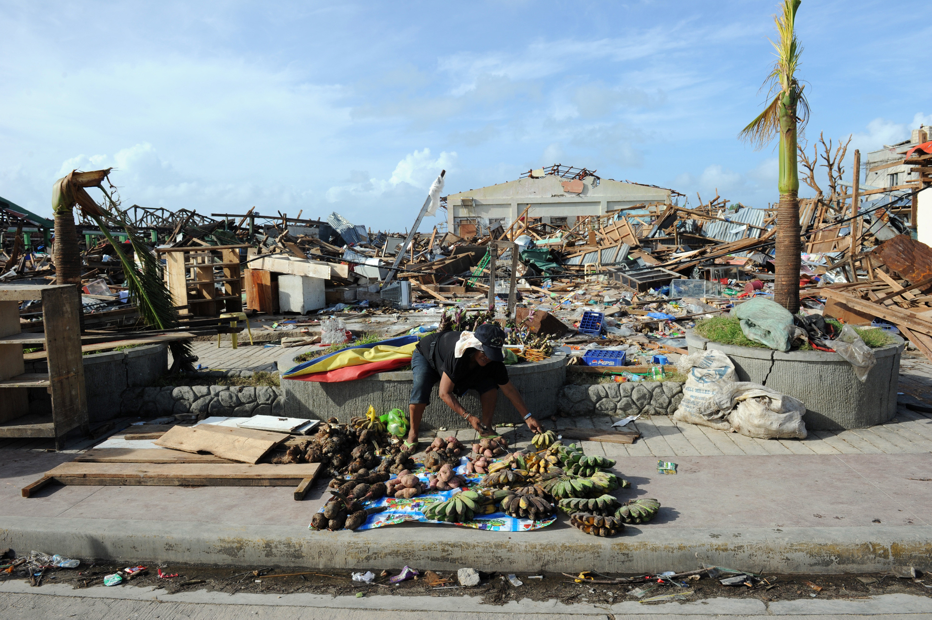 An elderly resident sells root crops and fruit next to the destroyed public market in the town of Guiuan in the central Philippines.