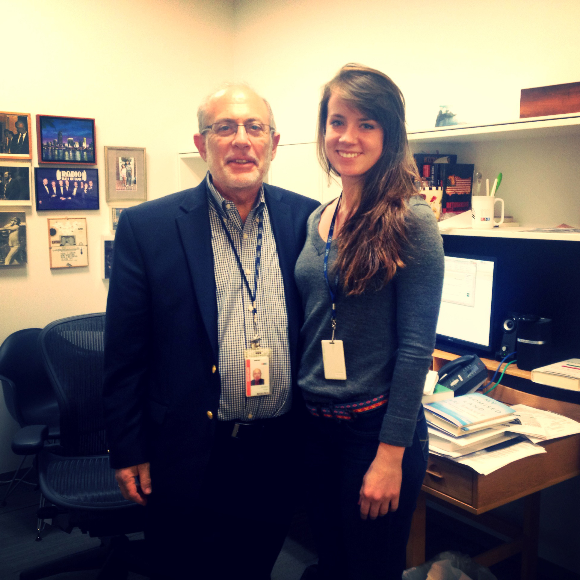 All Things Considered Host Robert Siegel with All Things Considered Intern Annabelle Ford. (posted by @annabellejford)