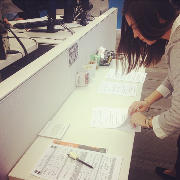 During the All Things Considered broadcast, NPR Intern Karen Zamora (@karenanelzamora) prints the upcoming scripts, lines them up in order and brings them into the studio. Except this time, she didn't have a second to lose! (posted by @nprintern)