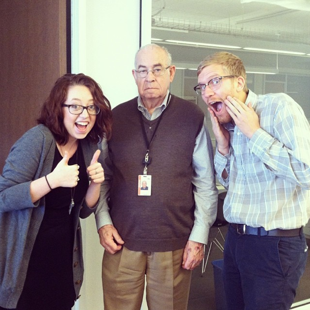 NPR interns Madeleine Valley and Johnny Kauffman hang with Carl Kasell.