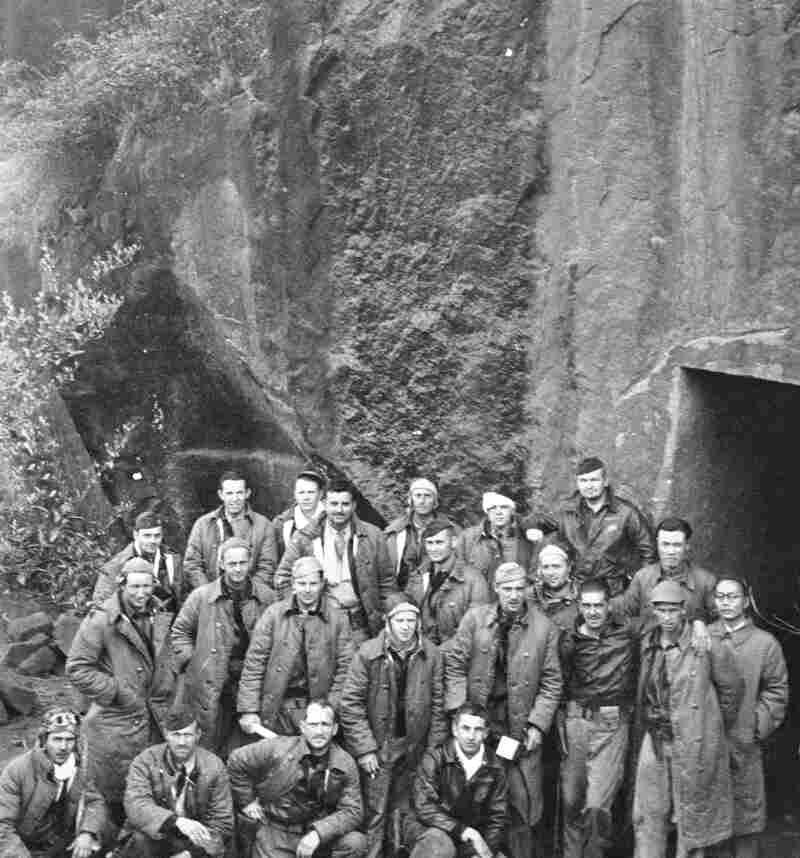 Maj. Gen. James Doolittle's Tokyo raiders pose for a photo outside a mountainside shelter in China on April 22, 1943. The Doolittle Raider's daring raid on Japan helped boost American morale during World War II.