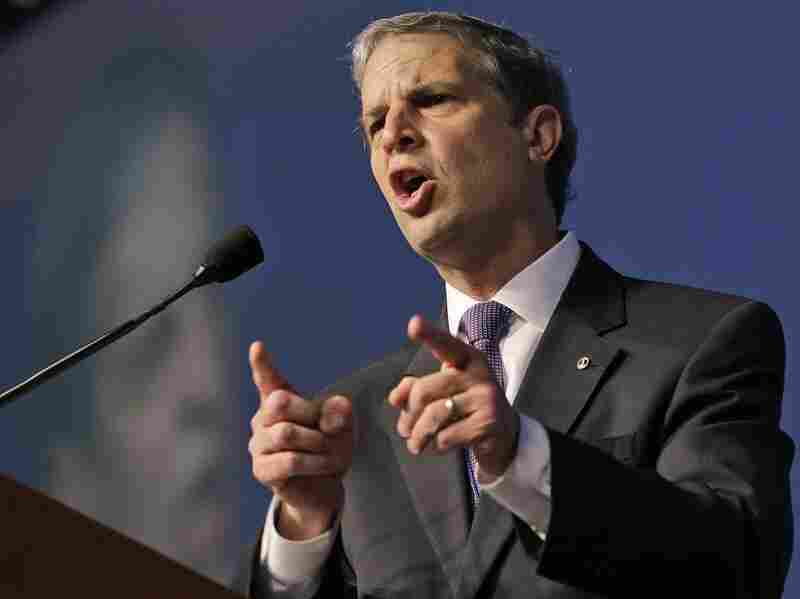 State Sen. Mark Obenshain speaks at the Virginia Republican convention in Richmond on May 18. He currently holds a 17-vote lead over Democratic state Sen. Mark Herring in the state's attorney general election.