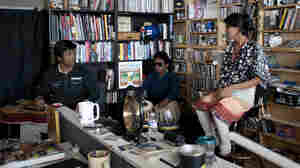 Debashish Bhattacharya performs at a Tiny Desk Concert in September 2013.