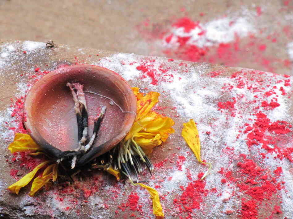 November in Nepal: a ceremonial candle.