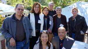 NPR journalists who have participated in the Nieman Foundation Fellowship program gathered in September to celebrate the Fellowship's 75th Anniversary. (l to r) Howard Berkes, Marilyn Geewax, Sylvia Poggioli, David Welna, Margot Adler, Dina Temple-Raston, (bottom) Elise Hu and Jonathan Blakley.