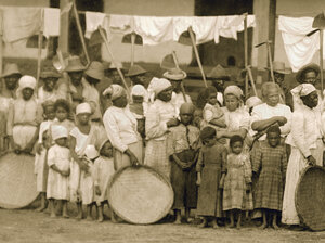 A detail from a photo of slaves going to the coffee harvest with oxcar. Vale do Paraiba, Sao Paulo, 1885.