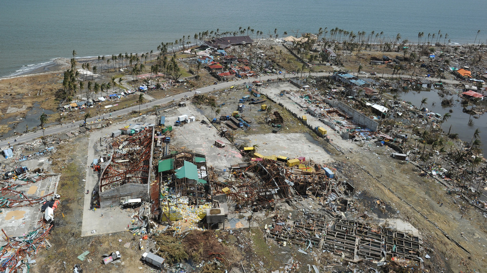 From the air, some of the devastation in the Philippines city of Tacloban. (Ted Aljibe /AFP/Getty Images)