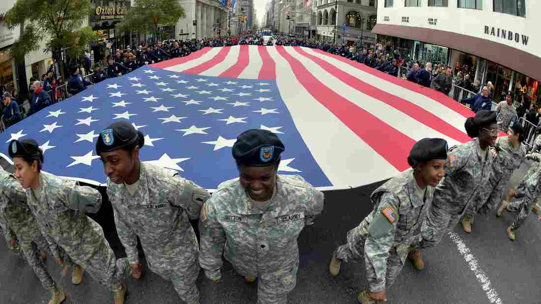 Members of the New York State National Guard march in the annual Veterans Day Parade on Fifth Avenue in New York Monday. The parade honored all veterans, with a special salute to women in uniform.