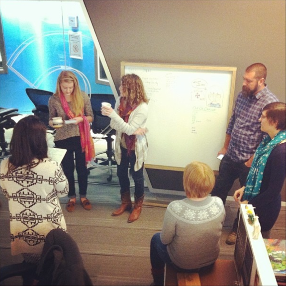 "Multimedia Intern Becky Harlan (center left) pitches ideas at the daily Multimedia ""scrum."" (posted by @nprintern)"