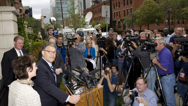 Democrat Al Franken, with his wife, Frannie, meets reporters and a small gathering of supporters at their house in Minneapolis on June 30, 2009, after the Minnesota Supreme Court ruled in favor of the Democrat in the Senate race against Republican Norm Coleman.