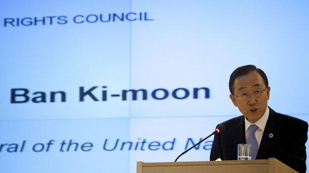 U.N. Secretary-General Ban Ki-moon speaks at the Human Rights Council at the United Nations in Geneva, Switzerland, last year.