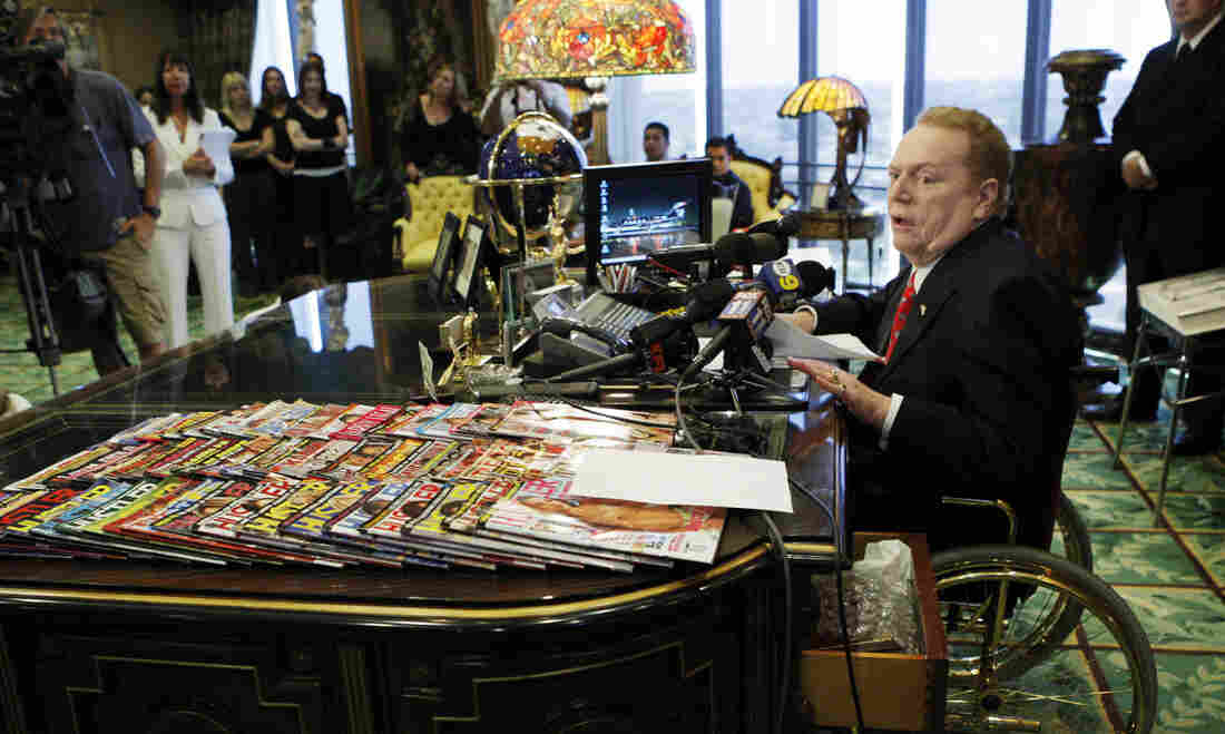 Hustler magazine magnate Larry Flynt, pictured during a 2007 news conference in his office in Beverly Hills, Calif.