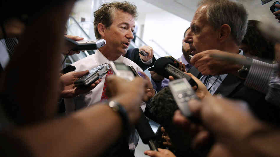 Sen. Rand Paul, R-Ky., talks to reporters at the U.S. Capitol on Sept. 3.