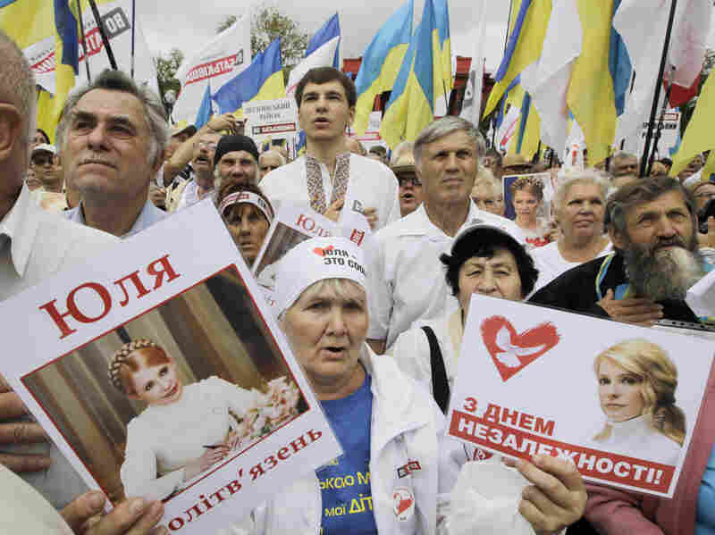 Opposition activists protest the arrest of former Prime Minister Yulia Tymoshenko in Kiev, Ukraine. The release of Tymoshenko is a condition the European Union has set in order to associate with Ukraine.