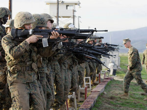 Marine Corps recruits train at the Edson Firing Range at Camp Pendleton Marine Corps Base in 2008.