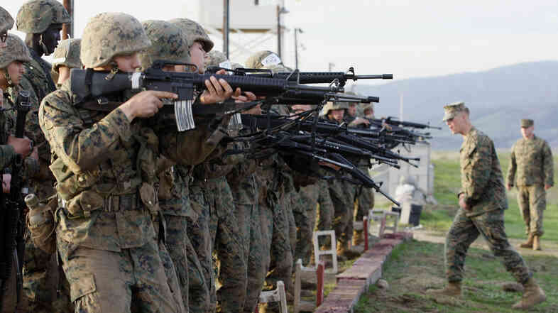 Marine Corps recruits train at the Edson Firing Range at Camp Pendleton Marine Corps Base in 2