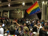 Proponents of gay marriage rally outside state House chambers at the Hawaii Capitol in Honolulu on Nov. 8.