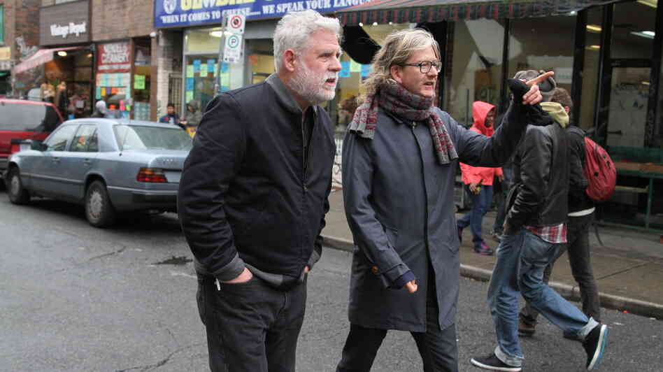 Brendan Canning (right), co-founder of Broken Social Scene, gives host David Dye a tour of Toronto.