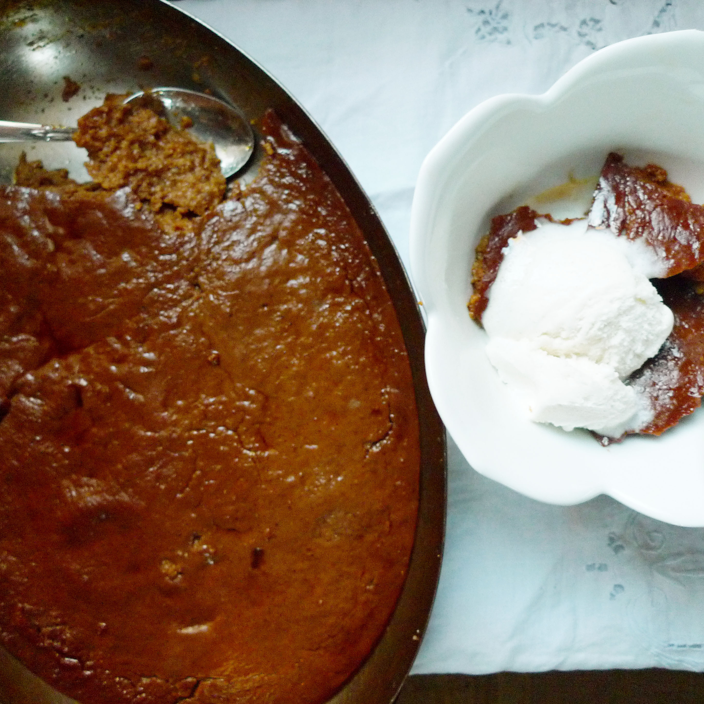 Indian pudding, served warm with vanilla ice cream -- a dish well worth celebrating.