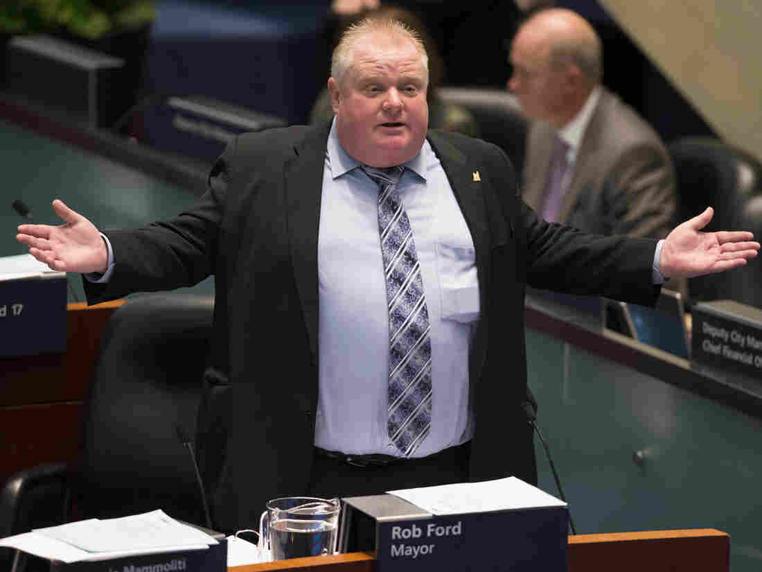 Toronto Mayor Rob Ford during Wednesday's contentious City Council meeting.