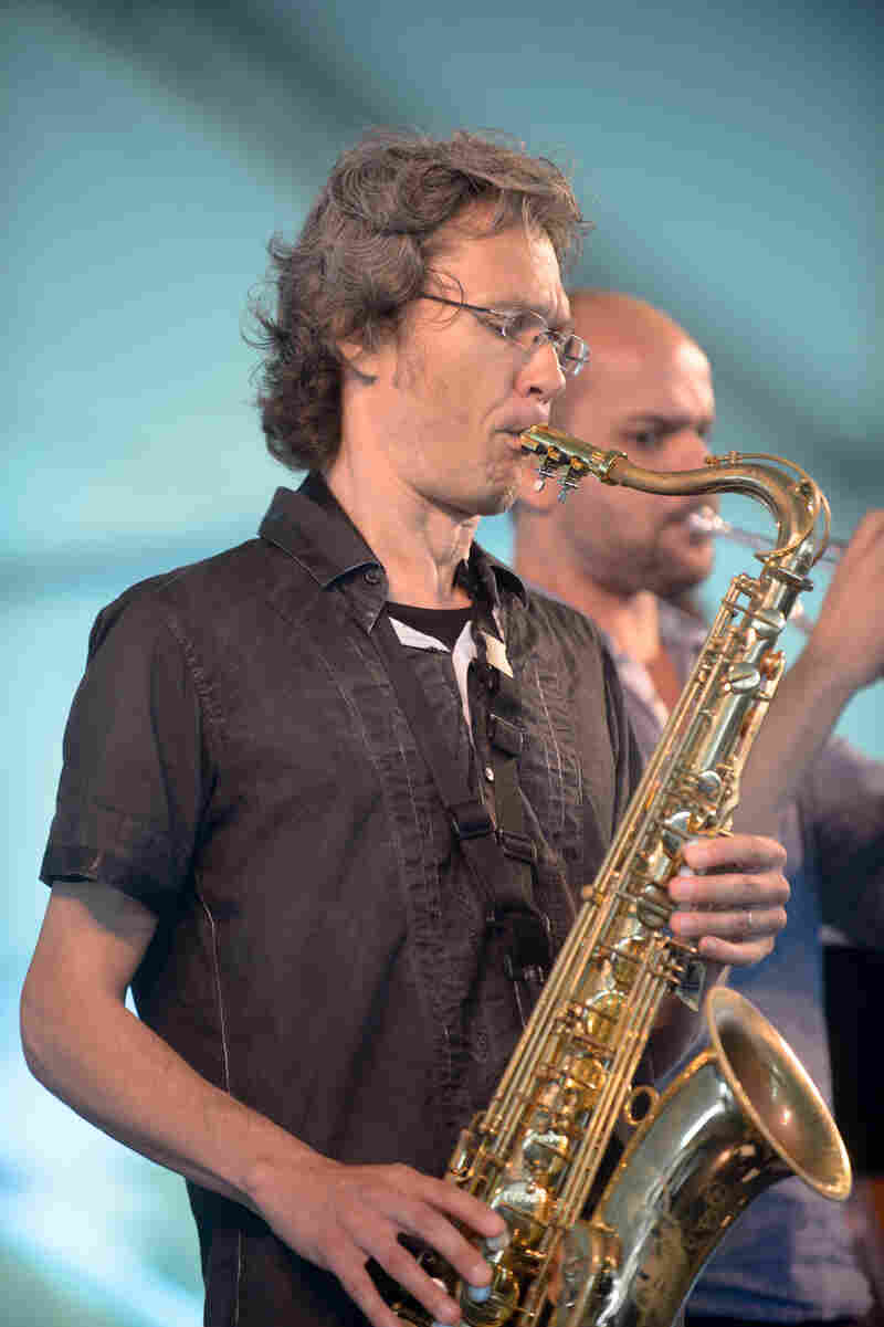 Ole Mathisen plays the tenor sax with Two Rivers.