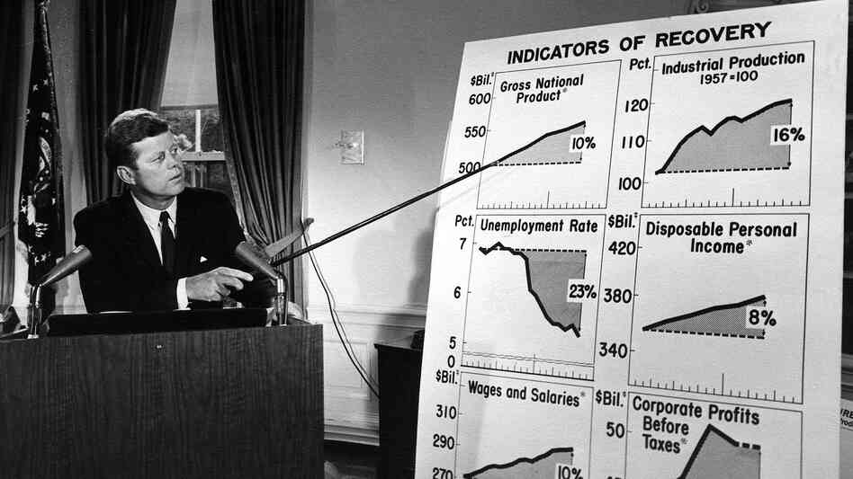 President Kennedy addresses the nation about the economy in 1962. He presided over an economic turnaround.