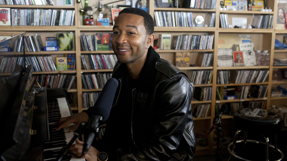 John Legend performs at the Tiny Desk Concert on Wednesday, October 23, 2013. (Abbey Oldham/NPR)