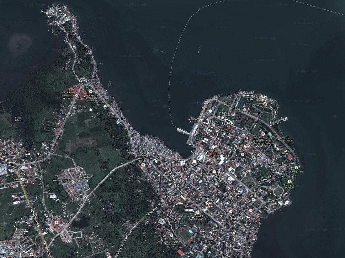 Satellite image of the Anibong district (upper left) and downtown Tacloban from 2012