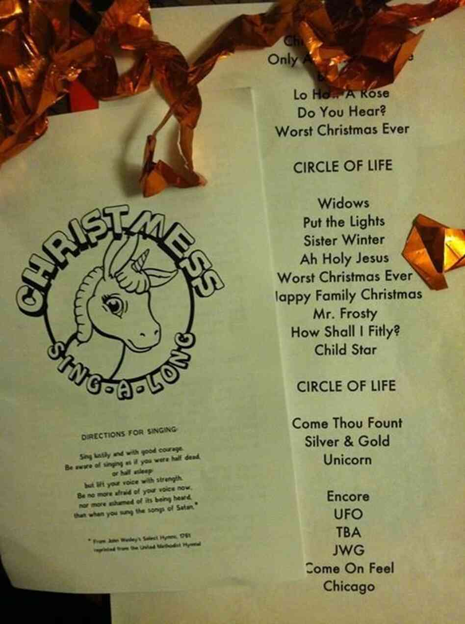 """Sufjan Stevens at the Beachland Ballroom (""""Surfjohn Stevens' Christmas Sing-A-Long Tour"""" - Cleveland, OH), Dec. 16, 2012."""