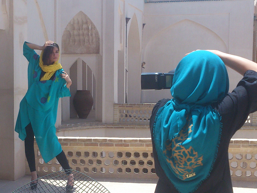 "Afra Pourdad photographs her model, Shabnam Molavi. Iran is ""so colorful,"" Pourdad says."