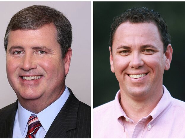 State Sen. Neil Riser (left) and Vance McAllister are pictured in images provided by their campaigns. The two Republicans are running against each other in a Louisiana congressional special election.