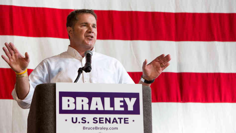 Democratic Rep. Bruce Braley speaks during an Oct. 27 fundraiser for his Senate campaign at the Iowa State Fairgrounds in Des Moines. Braley was one of 39 Democrats who voted Friday for legislation to allow insurance companies to continue offering policies that would otherwise be canceled because they don't meet the standards of the Affordable Care Act.