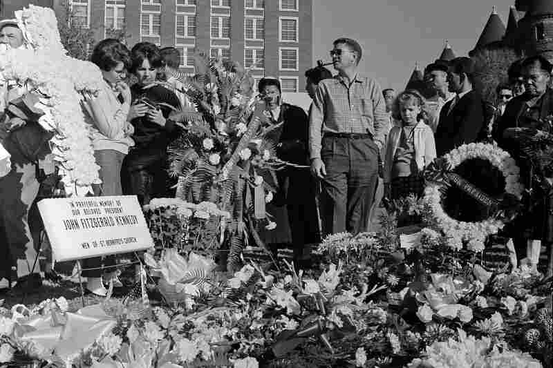 Flowers placed near the site where President Kennedy was killed.