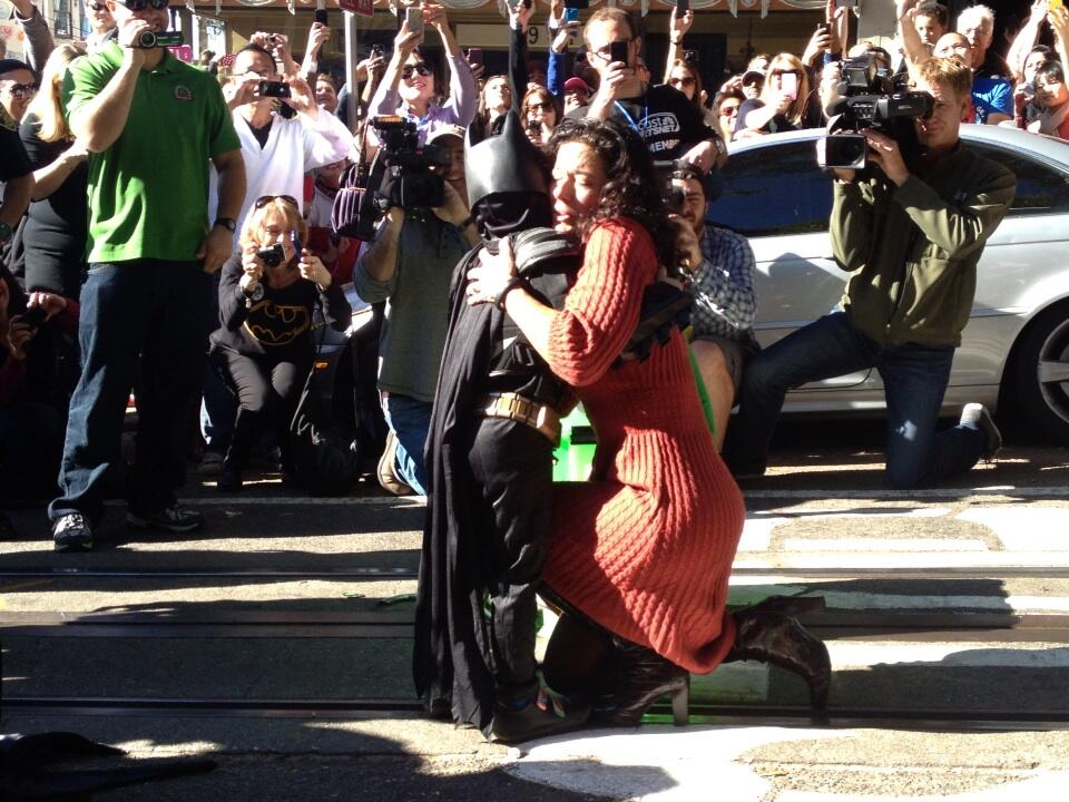 A woman who was rescued by Batkid on the cable-car rail near the intersection of Hyde and Green streets.