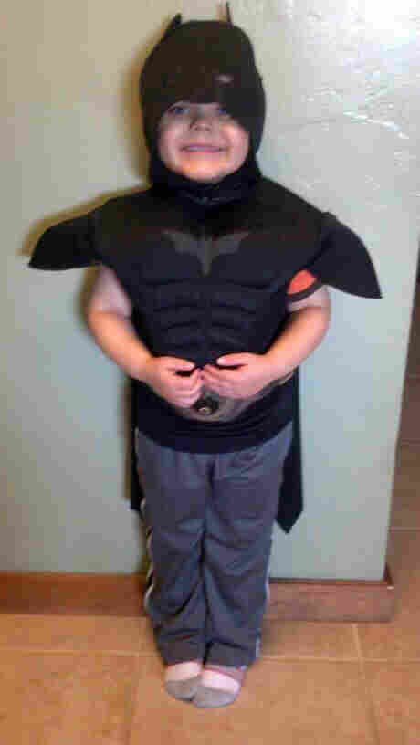 The kid behind the mask: Miles is a happy superhero today.