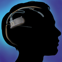 The device sits under a patient's skull and tracks brain activity.
